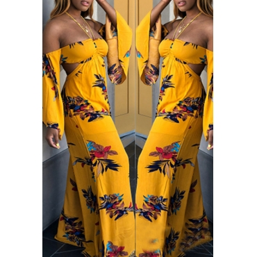 Lovely Sexy Halter Neck Printed Hollow-out Yellow One-piece Jumpsuit
