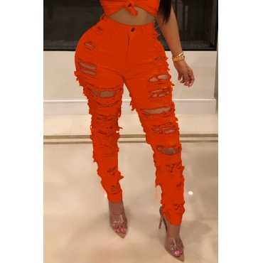 Lovely Sexy High Waist Hollow-out Orange Jeans