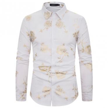 Lovely Stylish Rose Printed White Shirt