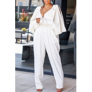 Lovely Casual V Neck Hollow-out White One-piece Jumpsuit
