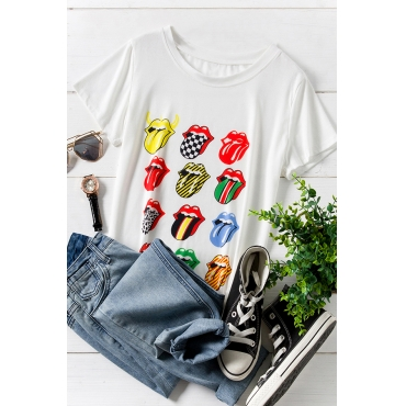 Lovely Casual O Neck Lip Printed White Plus Size T-shirt