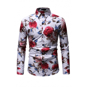 Lovely Casual Rose Printed White Shirt