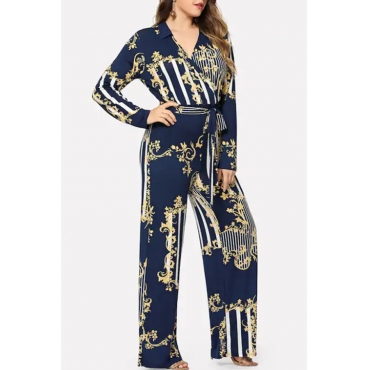 Lovely Casual Striped Blue Plus Size One-piece Jumpsuit