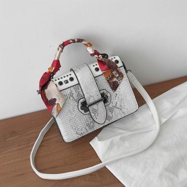 Lovely Chic Rivet Decorative White PU Crossbody Bag
