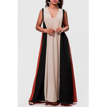 Lovely Casual Color-lump Patchwork Multicolor Floor Length Dress