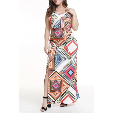 Lovely Chic Geometric Printed White Ankle Length Plus Size Dress