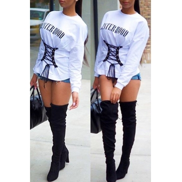 Lovely Casual Letter White Hoodie
