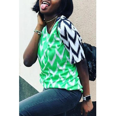Lovely Casual O Neck Printed Green T-shirt