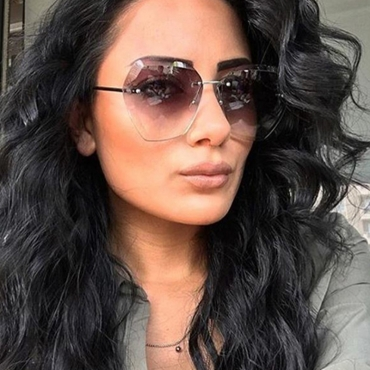 Lovely Chic Rimless Gradient Grey Sunglasses