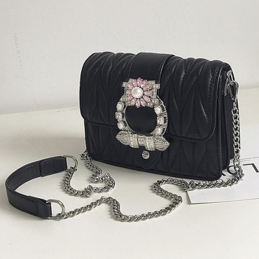 Lovely Chic Chain Strap Black Crossbody Bag