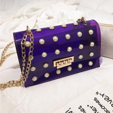 Lovely Trendy Chain Strap See-through Purple Crossbody Bag