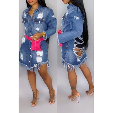 Lovely Casual Broken Holes Blue Denim Coat
