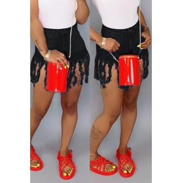 Lovely Casual Tassel Design Black Shorts