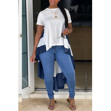 Lovely Casual Patchwork Asymmetrical White T-shirt