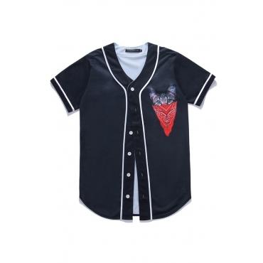 Lovely Casual V Neck Printed Black Shirt