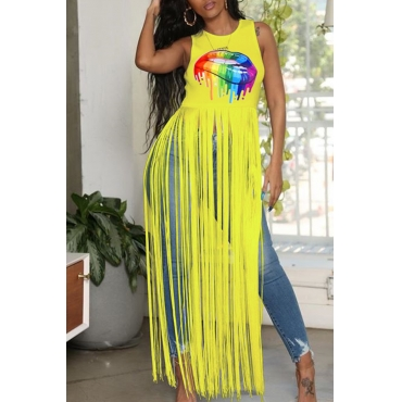 Lovely Casual Lip Printed Tassel Design Yellow Camisole