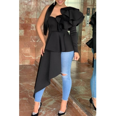 Lovely Trendy One Shoulder Flounce Design Black Blouse