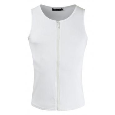 Lovely Casual Zipper Design White Vest