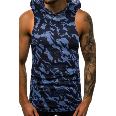 Lovely Casual Camouflage Printed Blue Vest