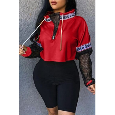 Lovely Casual Mandarin Collar Mesh Patchwork Red Hoodies
