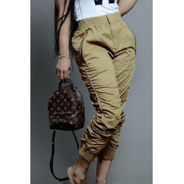 Lovely Leisure Mid Waist Zipper Design Army Green Pants