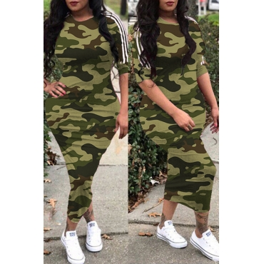 Lovely Casual O Neck Camouflage Printed Army Green Ankle Length Dress