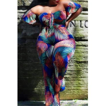 Lovely Casual Off The Shoulder Multicolor Plus Size One-piece Jumpsuit