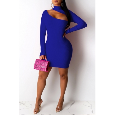 Lovely Stylish Hollow-out Blue Mini Dress