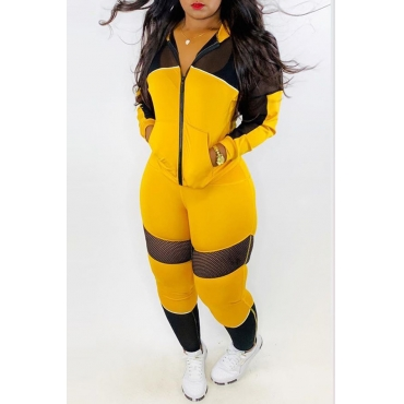 Lovely Casual Patchwork Yellow Two-piece Pants Set