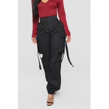 Lovely Trendy Buttons Design Black Pants