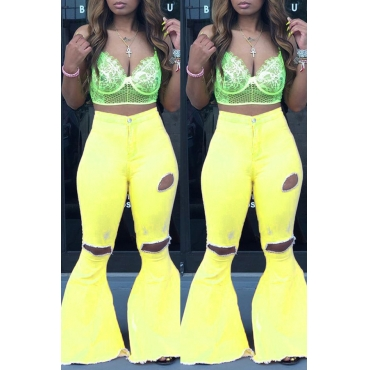 Lovely Casual Mid Waist Broken Holes Yellow Pants