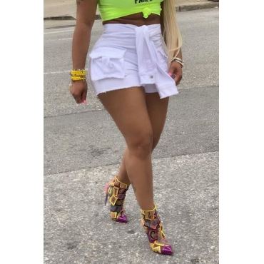 Lovely Casual Knot Design White Shorts