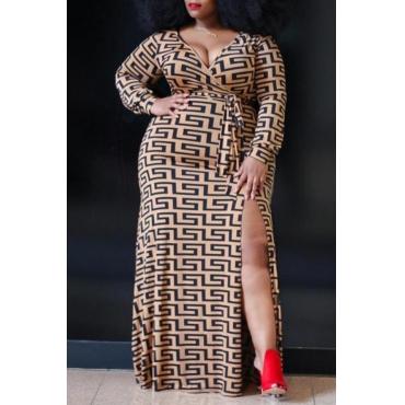 Lovely Casual Geometric Printed Dark Coffee Floor Length Plus Size Dress