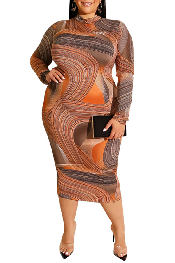 Lovely Casual Printed Orange Mid Calf Plus Size Dress