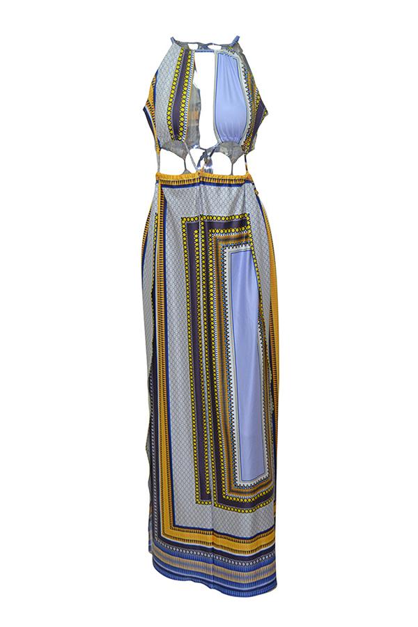 Lovely Sexy Patchwork Side Slit Multicolor Ankle Length Dress
