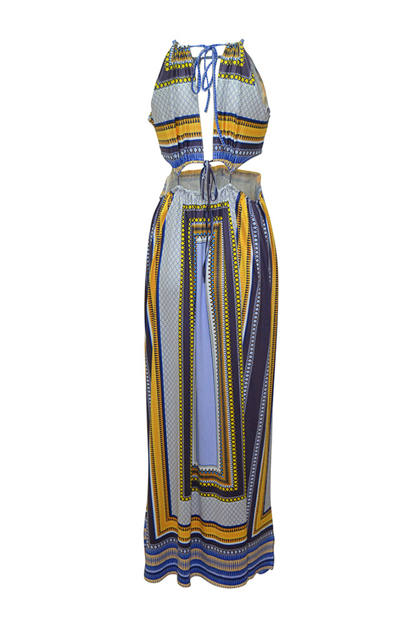 Lovely Sexy Patchwork Side Slit Multicolor Ankle Length Dress
