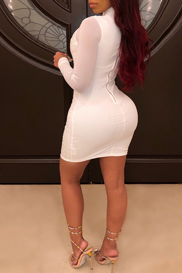 Lovely Sexy Hot Drilling Decorative Patchwork White Mini Dress