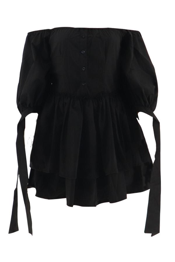 Lovely Chic Dew Shoulder Cascading Ruffle Design Black Mini Cake Dress