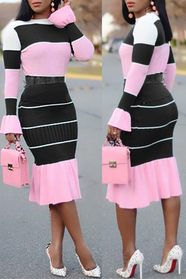 Lovely Casual Patchwork Black Two-piece Skirt Set