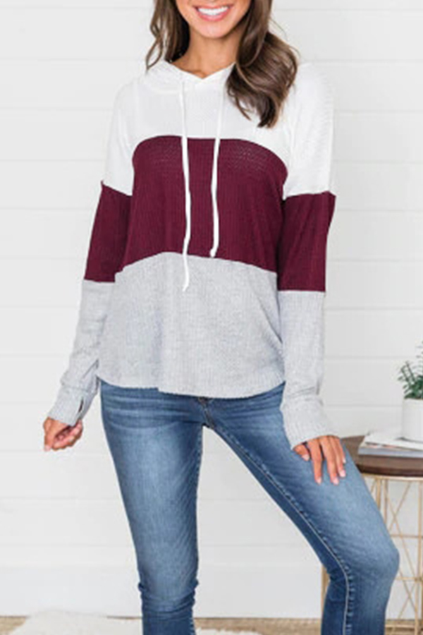 Lovely Trendy Hooded Collar Drawstring Wine Red Sweaters