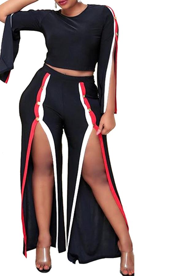 Lovely Trendy Patchwork Slit Black Two-piece Pants Set