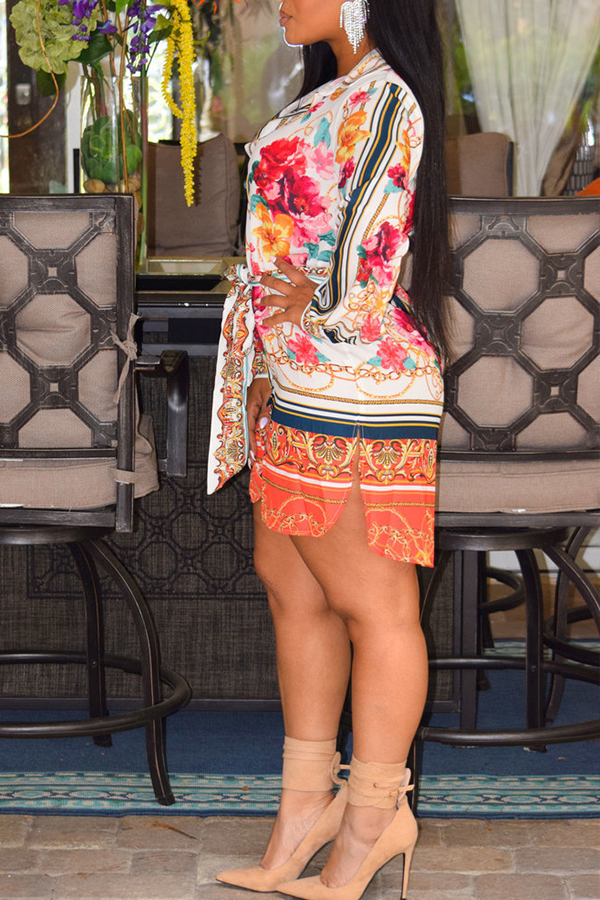 Lovely Chic Turndown Collar Printed Muticolor Mini Dress(Without Belt)