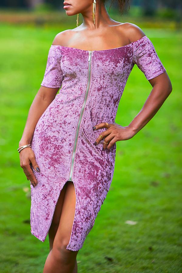 Lovely Trendy Zipper Design Purple Knee Length Dress