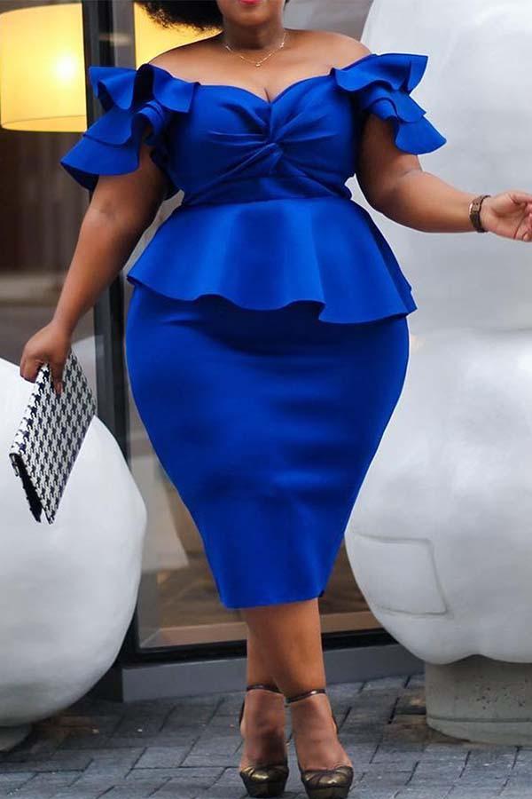 Lovely Casual Flounce Design Blue Knee Length Plus Size Dress