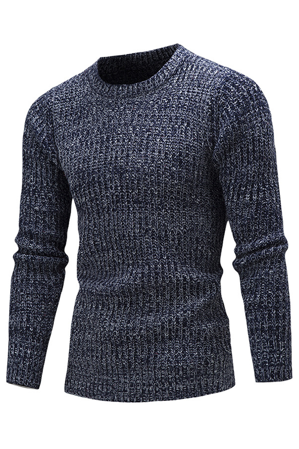 Lovely Casual O Neck Navy Blue Sweaters