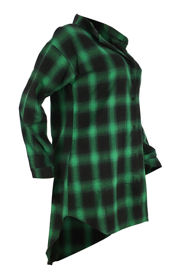 Lovely Leisure Turndown Collar Letter Printed Green Shirt