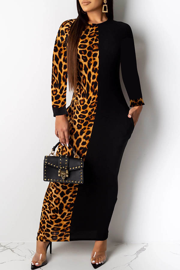 Lovely Casual Leopard Printed Brown Ankle Length Dress