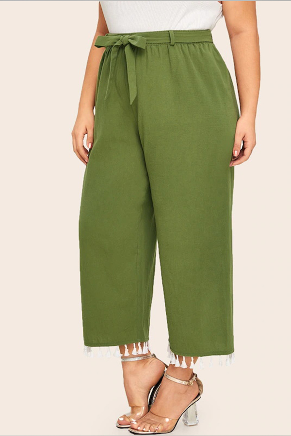 Lovely Casual Tassel Design Green Plus Size Pants