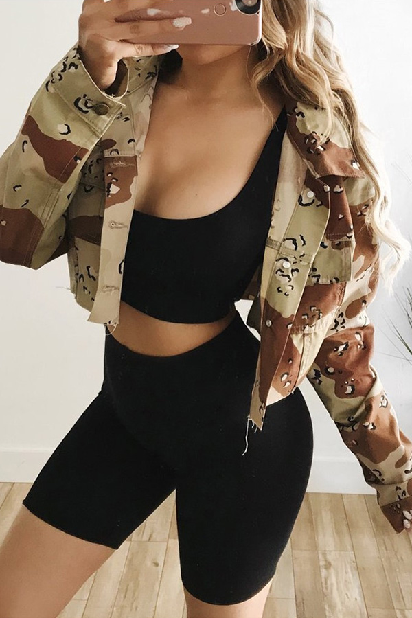 Lovely Trendy Turndown Collar Camouflage Printed Jacket