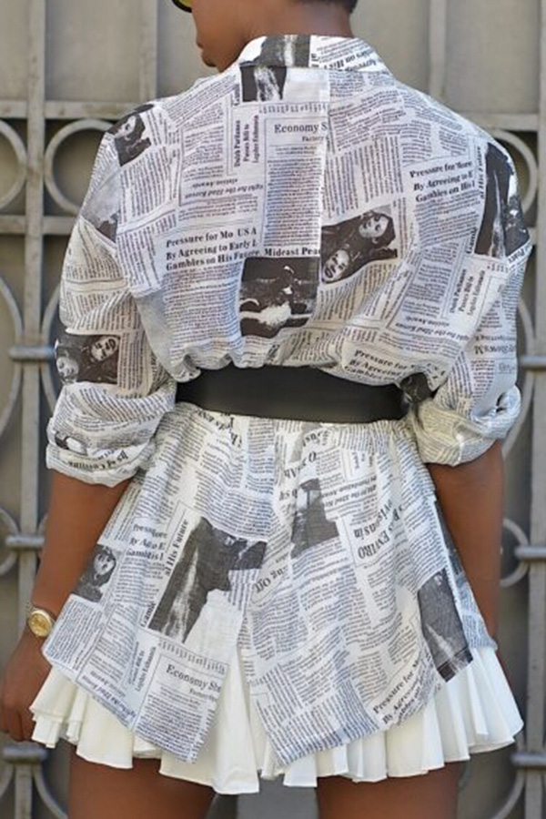 Lovely Casual Printed White Coat(Without Belt)